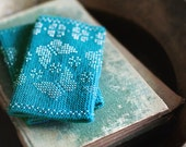 Luxury Turquoise beaded wrist warmers - with butterfly motive