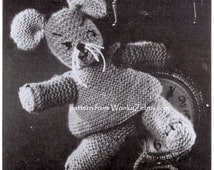 Vintage Hickory Knitted MOUSE Pattern PDF 527 from WonkyZebra