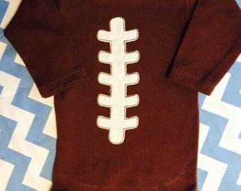 Baby Football Appliquéd Onsie Brown cute for Game Day or Halloween Costume