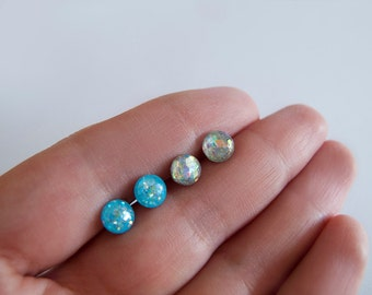 Set of Tiny 4mm or  6mm Round Sparkly Stud Earrings - Hypoallergenic Surgical Steel Posts