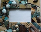 Earthtones MOSAIC  Photo FRAME Mixed Media, Handmade,OOAK  Table Top Picture Frame,Geode Accent,Browns,Tan,Teal Blue Stones, Gems, Glass