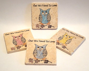 Colorful Owl We Need is Love Owl coasters - set of 4