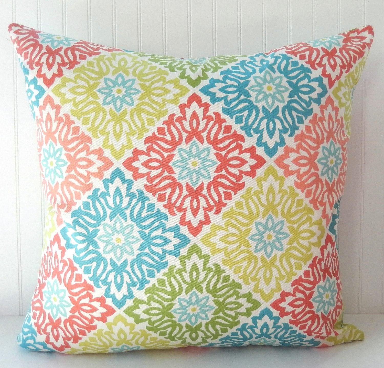 Coral Blue Pillow Cover Throw Pillow Decorative Pillow