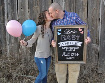 We're Expecting Little Baby Chalkboard Printable digital file - Announcing baby/ pregnancy announcement