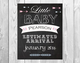 Arrow We're Expecting Little Baby Chalkboard Printable 8x10 - Announcing baby/ pregnancy announcement