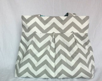 Chevron diaper bag, purse large pleated with grey and white chevron teal blue polka dot with bottle pockets