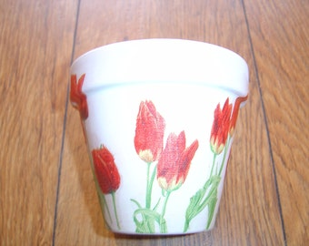 Hand Painted and Decoupaged Decorative Flower Pots ( Tulips 3 )