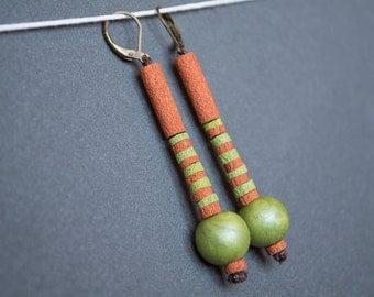 Hippie earrings Boho earrings Indie Beadwork earrings Green Brown earrings Beaded Long earrings Dangle earrings Rustic Polymer clay earrings