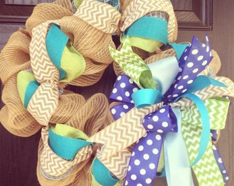Burlap wreath // Blue // Lime green // White // Turquoise // Spring Burlap Wreath // Summer Wreath // Chevrons // Polka dot // Ocean wreath