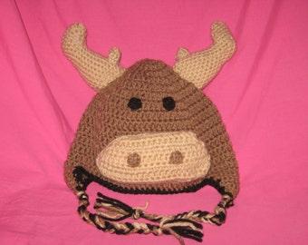 Crochet moose earflap hat, moose hat, moose crochet