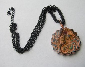 Necklace Seahorse Ceramic Pendant & Black Metal Chain Beach Jewelry