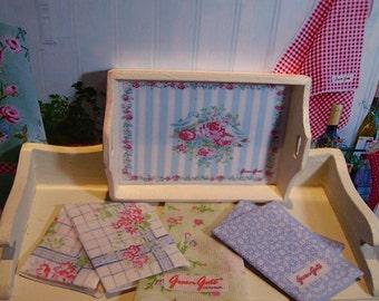 Greengate Style Miniature Tea Towel for Dollhouse 1:12 scale
