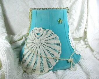 Lamp shade,shabby decor lamp shade,hand made lamp shade,decorated lamp shade,aqua,blue,lace,burlap.