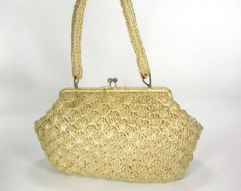 Vintage purse, wicker purse, straw purse, shoulder purse, 1950 purse,purse,hand bag