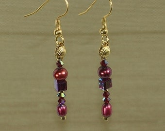 Black Cherry Red Pearls with Red Crystal Earrings