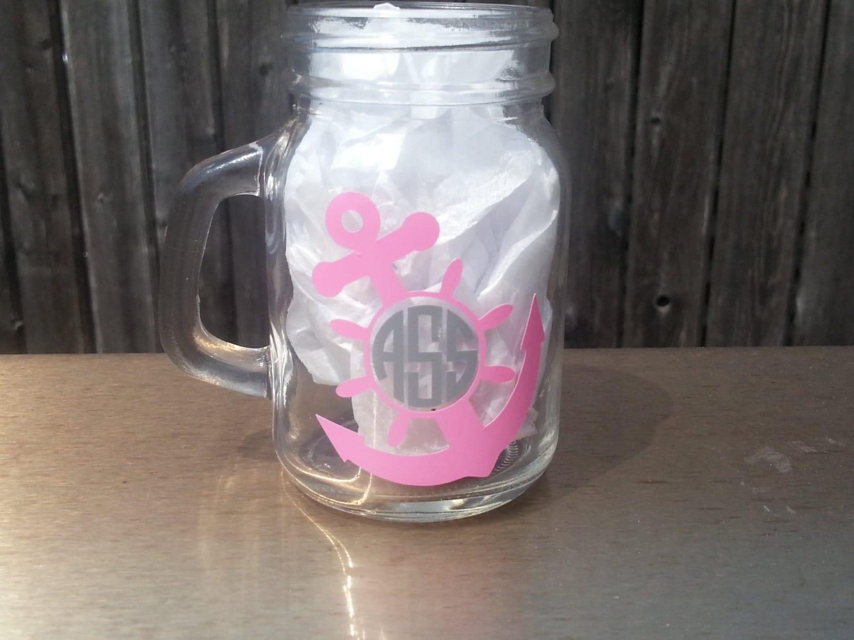 2 nautical mason jar shot glasses monogrammed by youdreamitdesigns - Mason jar goblets ...