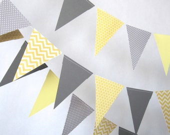 Paper garland bunting, wedding garland decor, bunting, yellow and grey garland, party home decor, nursery decor banner