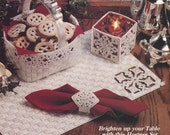 PLASTIC CANVAS Pattern Book - SNOWFLAKE Hostess Set - White and Silver - Placemat & Napkin Ring, Basket, Candle Box - Kenyon Books Original