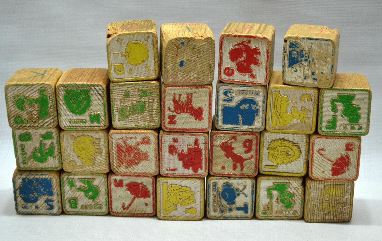 Vintage wooden blocks sesame street kids childrens