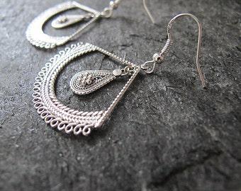 Jewelry, Silver earrings , Filigree earrings,Ethnic earrings,Yemenite earrings, Israel jewelry