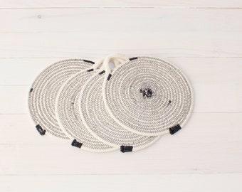 Set of 4 Black Cotton Sash Cord Trays