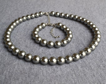 gray pearl set,gary bracelet,pearl neckalce,pearl set,bridesmaid gifts, gay necklace,. Beaded Jewelry,wedding necklace wedding party