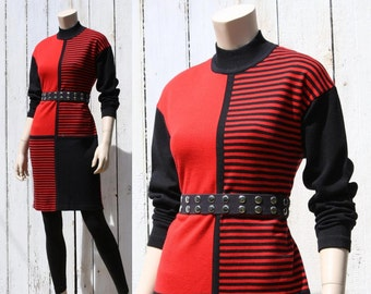 80s Mod Rocker red & black sweater dress - medium or large