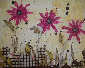 """Collage Original mixed media """"Dreaming of Summer"""""""