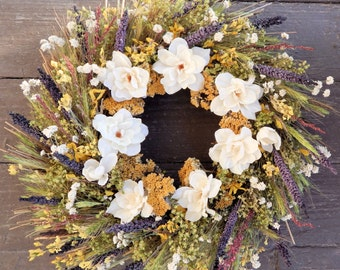 """Fall Front Door Wreath, Dried Floral Wreath """"Seasons in the Sun"""" w/ Wildflowers and Silk Delphiniums-Autumn Wreath, Fall Decor, Centerpiece"""