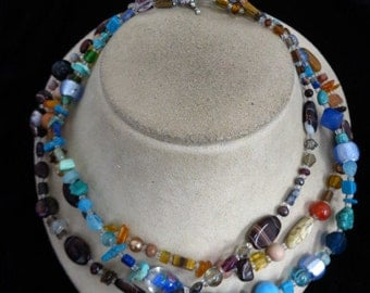 Hand Made Triple Stranded Colorful Glass Toggle Necklace