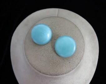 Vintage Teal Plastic Clip Earrings