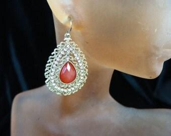 Vintage Goldtone Pink Rhinestone Dangle Earrings
