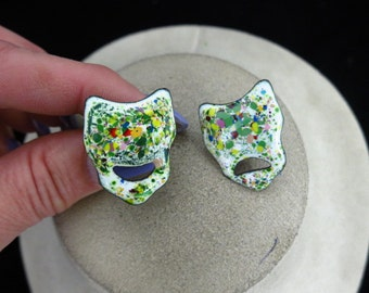 Vintage Unique Porcelain Multi Colored Earrings