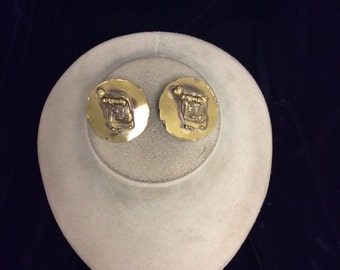 Vintage Gold Tone Clip Back Earrings