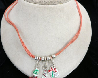 Vintage Christmas Themed Charm Pendant Necklace