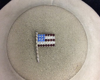 Vintage Red Clear & Blue Rhinestone Flag Pin