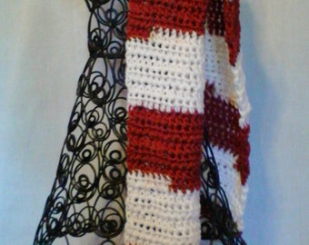 College Football Scarf in Burgundy and White for Men or Women
