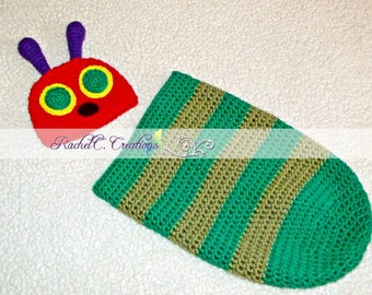 The Very Hungry Caterpillar Inspired Crochet Hat and Cocoon Set