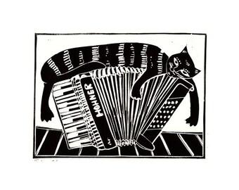 Accordionist is Having a Day Off  linocut by Maija Kanerva / linoleikkaus Hanuristin vapaapäivä