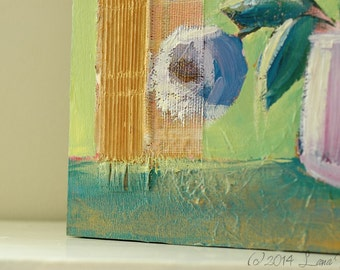 Original Mixed Media Acrylic Painting - whimsical, colorful art - abstract flowers in vase