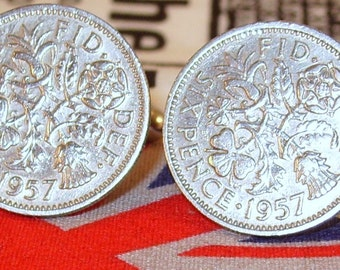 Boxed Pair Vintage British 1957 Lucky Sixpence Six Penny Coin Cufflinks Wedding 60th Birthday Anniversary