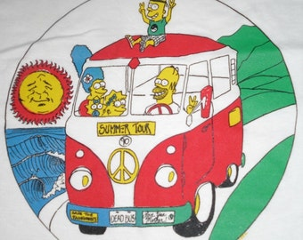 Grateful Dead T Shirt  ...  Simpsons ... 1990 Summer Tour Lot Shirt
