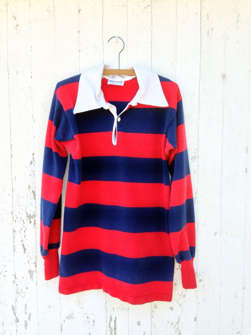 Vtg 70s classic rugby shirt jersey red blue stripe by for Red blue striped shirt
