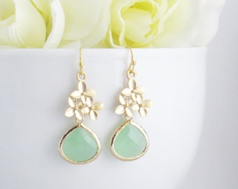 Green Earrings, Mothers Day Gift, Cherry Blossom Earrings, Mom Earrings, Sakura Earrings, Bridesmaid Gift, Bridesmaid Jewelry, Wedding Gift