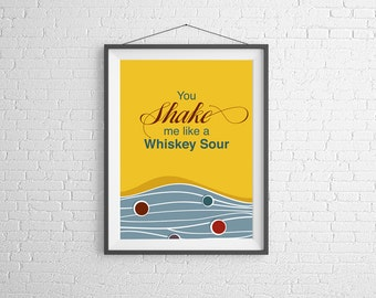 Whiskey Sour - Whiskey Sour Print - Cocktail Art - Wall Art Illustration - Cocktail Illustration - Bar Decor - Bar Art - Cocktail Poster