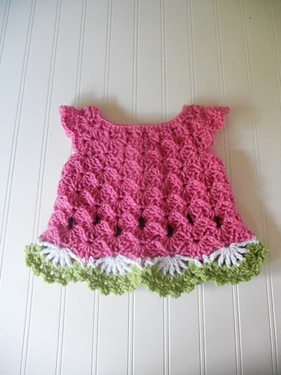 Reserved For Mary Sweet Spring Crochet Watermelon Baby Dress
