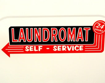 Vinyl Decal Vintage Retro Laundromat Washer Sign for White Surface
