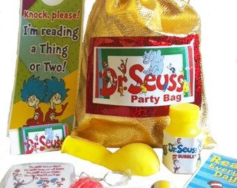 Dr Suess party bag loot bags with 8 items inside great value