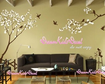 Wall Decal Nursery Wall Sticker Birds decals-Cherry blossom tree branch with flying birds DK142