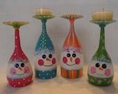 Adoreable Snowman wineglass candleholder